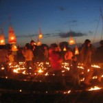 Last night at the stone circle the kids parade the lanterns they made in a circle of fire! Very stunning